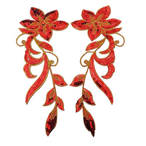 [Ximkee 1 Pair Dancing Flower Sequin Sew Iron on Applique Embroidered Patches-Red] (Red Dancing Girl Emoji Costume)