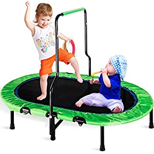 Merax Mini Rebounder Trampoline with Adjustable Handle for Two Kids, Parent-Child Trampoline (Green)