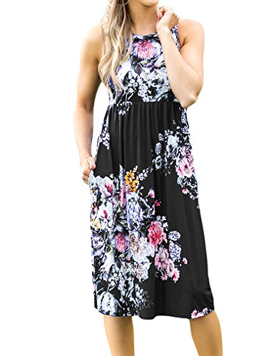 Empire Sundress - OURS Sleeveless Floral Sundress for Women Empire Waist Beach Tank Dresses Black M