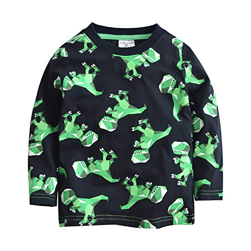 BABSUE Toddler Boys Dinosaur T-Shirt Long Sleeve Sweatshirts Cotton Pullover Crewneck Cartoon Tops Tees Kids 1-8T -