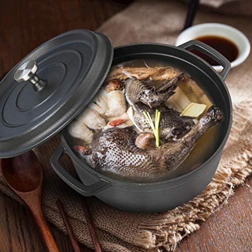 Pot en émail, pot en fonte, grande contenance, pot antiadhésif, casserole, pot à soupe, pot ménager, pot à soupe, pot à induction, pot en émail 24 / 26cm (Size : 24cm)