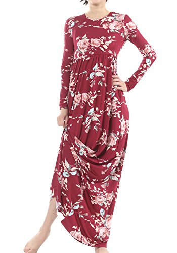 Simier Fariry Womens Fall Scoop Neck Pockets Loose Flowy Print Floral Party Maxi Dress Wine M - Loose Fit Printed Pocket