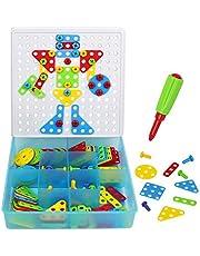 Mosaic Puzzle Pegboard para Niños Construcción Juegos Bloques de DIY Juego con Tuercas de Tornillo Herramientas Montessori Juguetes de Aprendizaje Regalo para Niños 3 4 5