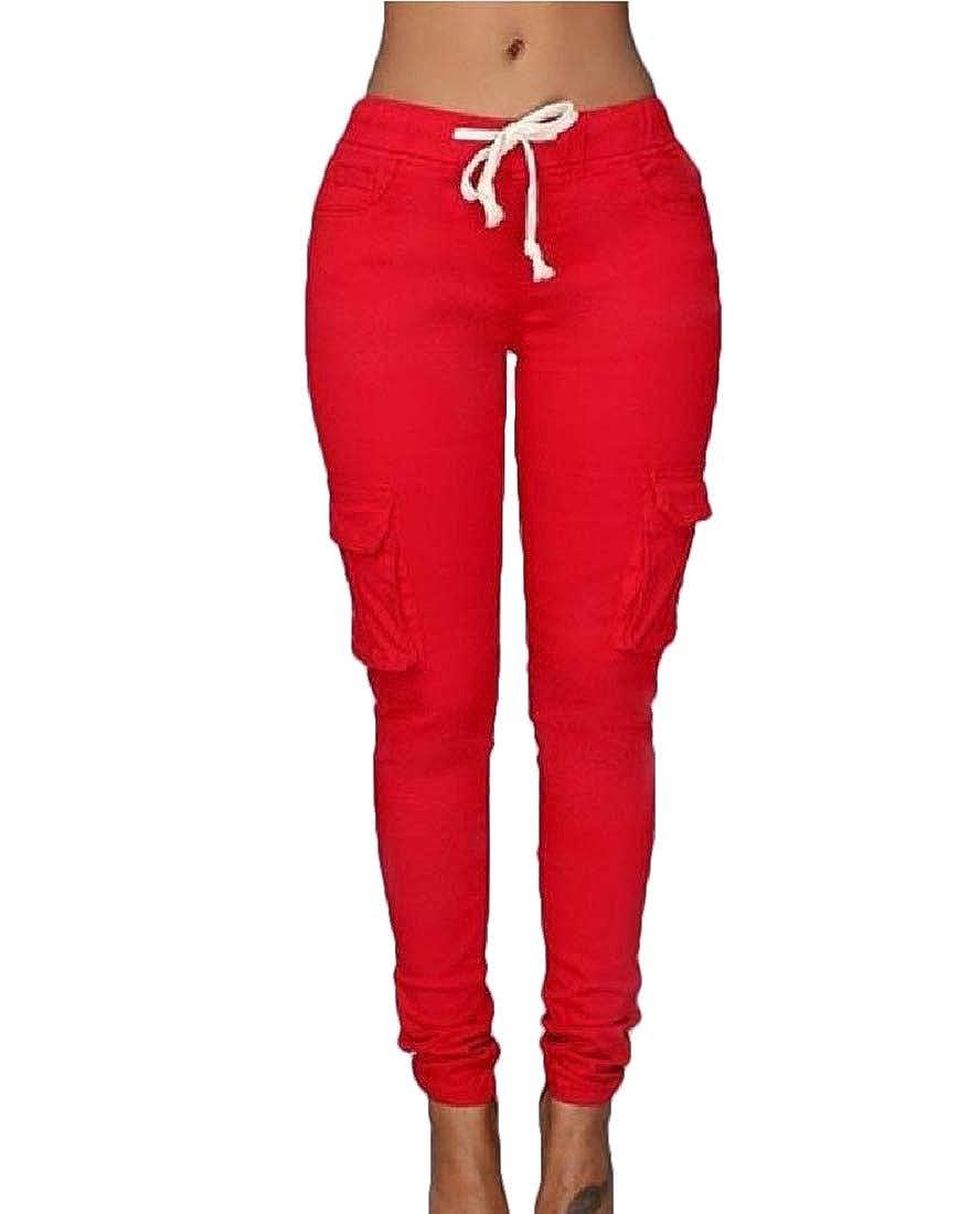 Sebaby Womens Drawstring Athletic Pocket Lounge High Waist Long Pants