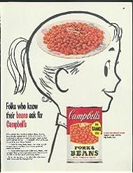 Folks who know their beans Campbell's Pork & Beans ad 1955 ponytail bean brain
