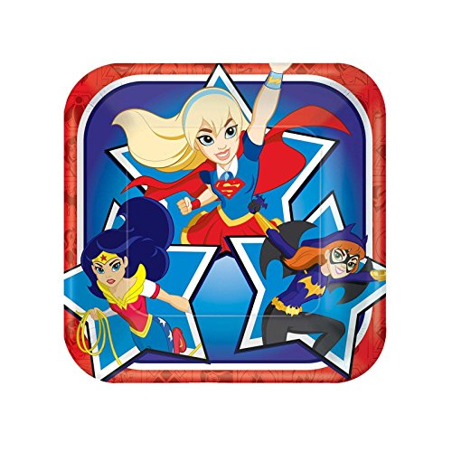 Discount Superhero Costumes (American Greetings DC Super Hero Girls Square Plate (8 Count), 7
