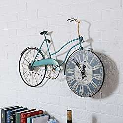 QBDS Vintage Industrial Style Coffee Shop Bar Creative Wall Decorative Wall Clocks Iron Vintage Bicycle Model Wall Decorative Wall Clocks Decorative pendant (Color : C)