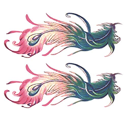 2 Sheets Colorful Peacock Feathers Women Makeup Art Stickers Abdomen Temporary Tattoos Fake Tattoos Tattoo Sticker ()