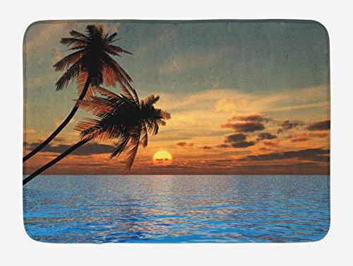 Lunarable Tropic Bath Mat by, Exotic Sundown in