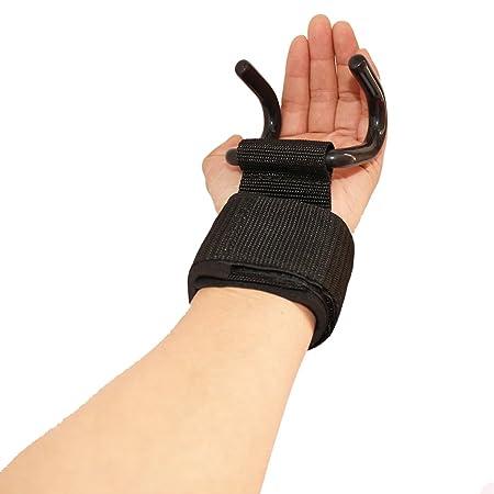 wellsem ganchos de levantamiento de peso entrenamiento de fuerza muñeca envuelve gimnasio correas de agarre para grip Assist durante peso muerto, filas, ...