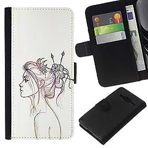 KingStore / Leather Etui en cuir / Samsung Galaxy Core Prime / Retrato a lápiz de dibujo Fashion Art;