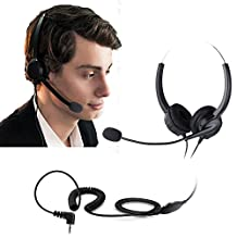 Cheeta 2.5mm Jack Binaural Phone Headset(call center), Noise Cancelling Corded Headphone With Boom-style Mic for Panasonic Desk Phones, Most Cordless Phones