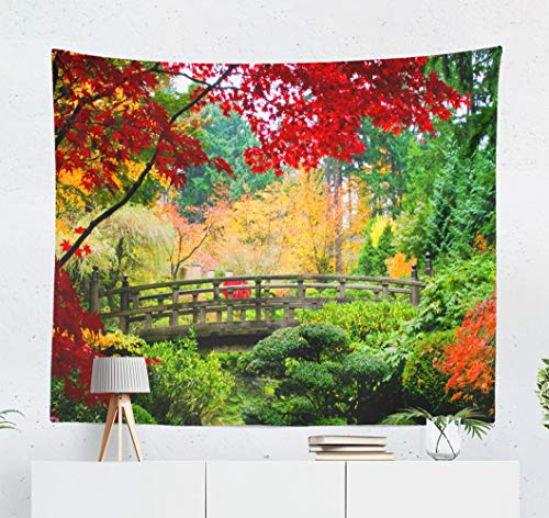 Kutita Tapestry Wall Hanging Bridge Japanese Garden Fall Season Japan Color Zen Wall Tapestry Home Decorations for Bedroom Living Room Dorm Decor in 60