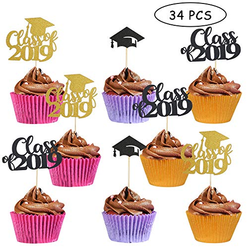 Graduation Cupcake Toppers 2019 Graduation Party Decorations Supplies Class of 2019 Graduation Cake Toppers