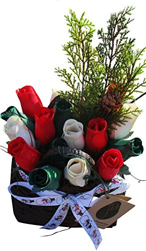 Christmas Wicker Basket Wooden Rose Arrangement. Red, White, Green Wooden Roses in a Festive Wicker Basket - Happy Holidays Floral Décor Bouquet for your Home or Office