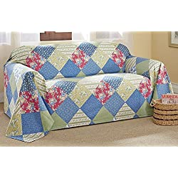Calico Patchwork Furniture Protector Throw Cover, Blue, Chair