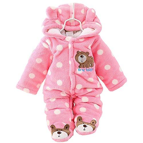 Bear Suits For Babies (Newborn Baby Boy Clothing Fleece Winter Girl Romper Cartoon Infant Babies Clothes Bear Snowsuit Pink Blue Jumpsuits (0-3 Months, Pink))