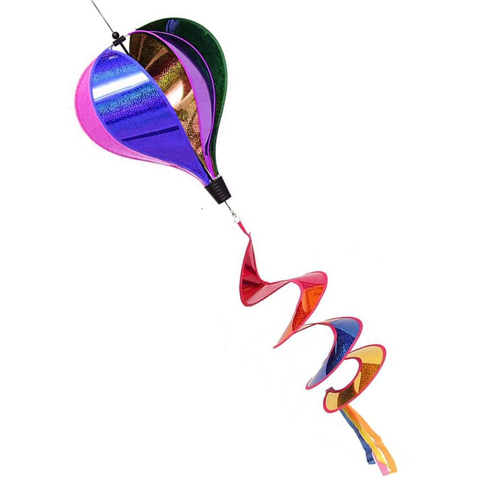 Techinal Hot Air Balloon Wind Spinner Rainbow Sequins Windsock Striped Outdoor Yard Decor 55.12 x 9.84
