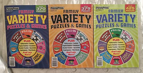 (Lot of (3) Penny Press Family Variety Puzzles & Games Puzzle Book 2017)