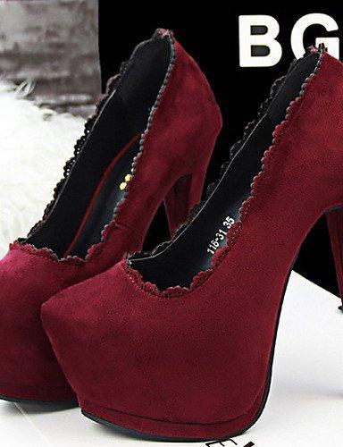 Burgundy Heels Khaki Heel Casual Zapatos Pink Black Red Evening mujer Velvet Heel ShangYi Burgundy de Pumps Stiletto Vestido Party wqCw8UT