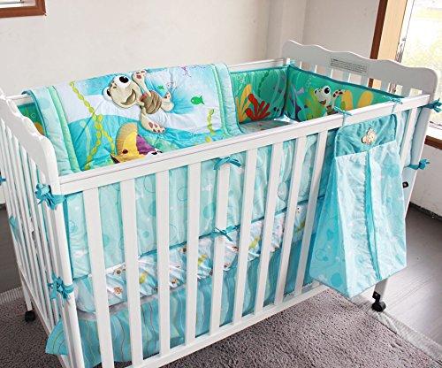 M2cbridge 8 Pcs Baby Nemo Fish Bedding Set with Quilt Bumper Sheet Crib Skirt