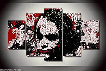 joker batman banksy canvas wall art Wood Framed Ready to Hang XXL
