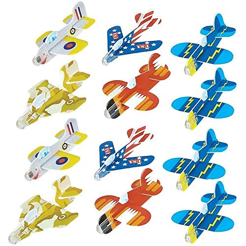 Kicko Foam Glider Plane Toy Set - 4 Inch, Assorted Pack of 72 - for Parties, Kids, Decoration, Outdoors, and Other Events