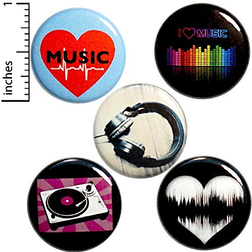 Music 5 Pack Buttons Backpack Pins 1 Inch P14-4