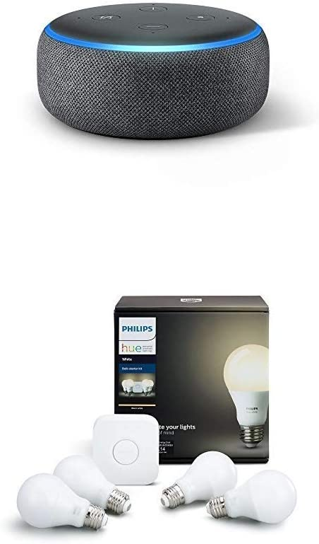 Philips Hue white 4 bulb starter kit (CA Residents) with Echo Dot (3rd Gen) - Charcoal