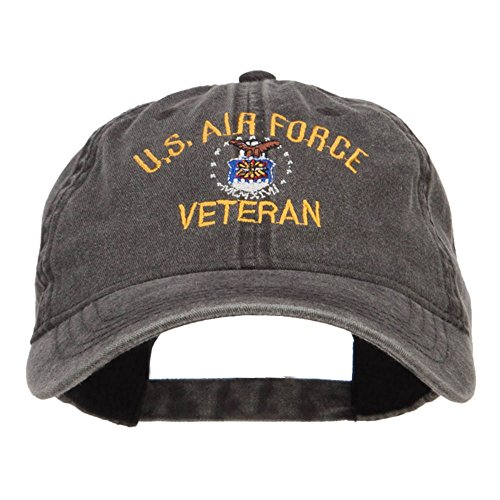 Air Force Cap (US Air Force Veteran Embroidered Washed Cap - Black OSFM)