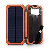 Solar Charger Friengood 15000mAh Portable Solar Power Bank Dual USB Ports Solar Phone Battery Charger with 6 LED Flashlight Light for iPhone, iPad, Samsung and More (Orange)