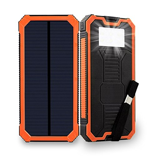 Solar Charger 15000mAh, Friengood Portable Solar Power Bank, Dual USB Port Solar Phone Battery Charger with 6 LED Emergency Light for iPhone, iPad, Samsung and More (Orange)