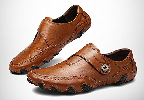 Shoes Shoes Slip Casual Comfort on Velcro Mens Stitching Boat Driving Rainrop Loafers Moccasins Leather Brown 0BO1AH