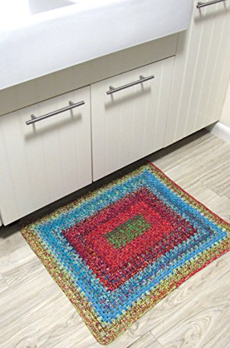 Handmade crocheted reversible boho door rug 27 inches by 30.5 inches one of the kind, heavy duty, thick, high quality cotton