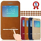 """Baseus iPhone 6 Case, Aerb Classic Series Smart Window View Touch Metal Front Flip Cover W Open Logo Back Folio Case for iPhone 6 4.7"""" (i6 B-Brwon Case)"""