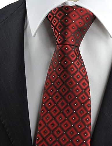 KissTies Mens Diamond Checked Tie Suit Necktie + Gift Box