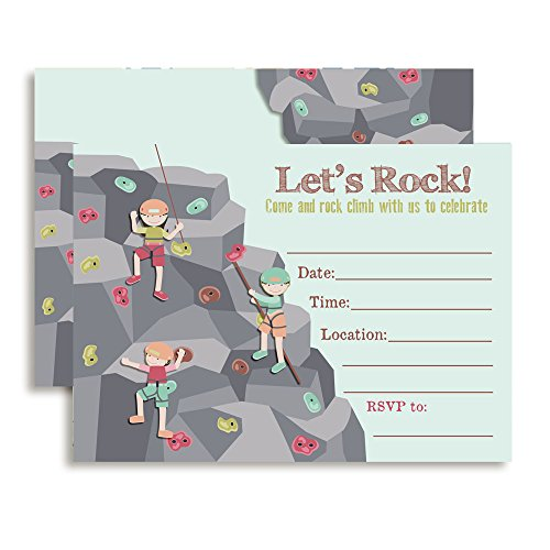 Amanda Creation Rock Climbing Birthday Party Fill in Invitations set of 10 with envelopes by Amanda Creation