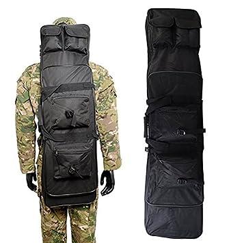 AV suministro 48 Inch táctico impermeable doble Rifle estuche mochila Militar Doble Pistola bolsa con correa para el hombro acolchada y bolsillos, ...