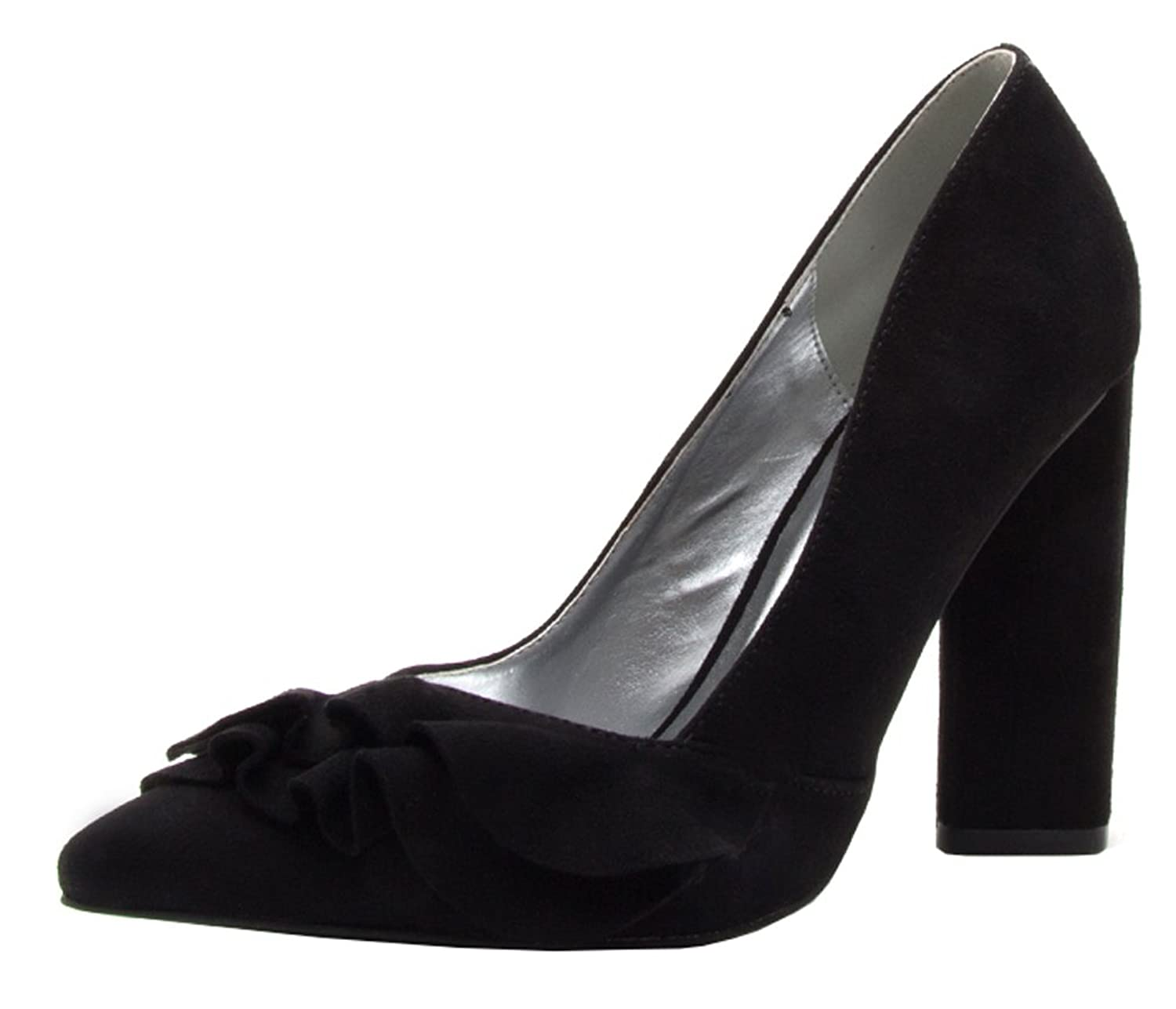 Qupid Women's Closed Pointed Toe Ruffle Bow Chunky Stacked Block Heel Pump