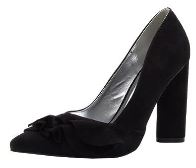 d68c06e1da Amazon.com   Qupid Women's Closed Pointed Toe Ruffle Bow Chunky Stacked Block  Heel Pump   Pumps