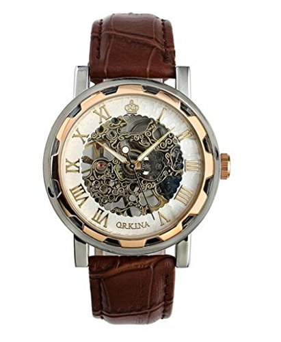 Voberry® Luxury Mans Leather Band Stainless Skeleton Mechanical Wrist Watch (1)