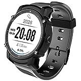 PINCHU Reloj Inteligente FS08 con frecuencia Cardíaca GPS multideportivo, Reloj de Pulsera con Control Remoto IP68 Resistente al Agua, Reloj Inteligente para Android iOS, Gris
