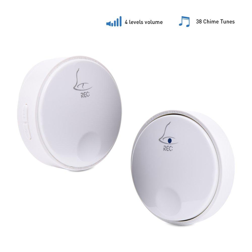 Smart Wireless Doorbell from Ankuoo, Self-powered Door Chime, Mini Door Ring Bell Kit, Door Alarm Push Button with 38 melodies & 4 Adjustable Volumes, 1 Receiver Plus 1 Transmitter, White