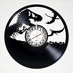 Jurassic World Handmade Vinyl Record Wall Clock - Get unique bedroom wall decor - Gift ideas for boys and girls, friends, father - Dinosaurs Unique Art Design