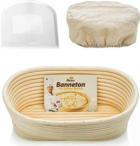 Oval Bread Banneton Proofing Basket - 10 Inch Baskets Sourdough Brotform Proofing Basket Set Banaton Towel for Baking Oval Proofing for Sourdough Bread Making Starter Jar Kit Accessories Tools