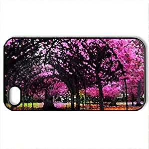 Pink Garden - Case Cover for iPhone 4 and 4s (Amusement Parks Series, Watercolor style, Black)