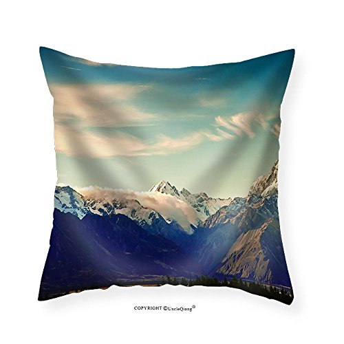 VROSELV Custom Cotton Linen Pillowcase New Zealand Scenic Mountain Landscape Shot at Mount Cook National Park. - Fabric Home Decor - New Selena Boyfriend Gomez