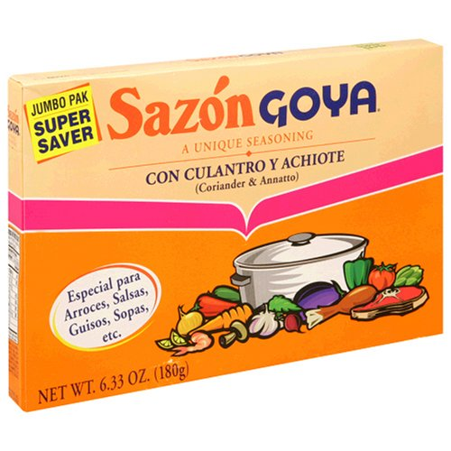 Goya Sazon Coriander & Annatto (con Culantro y Achiote), 6.33-Ounce Boxes (Pack of 5)