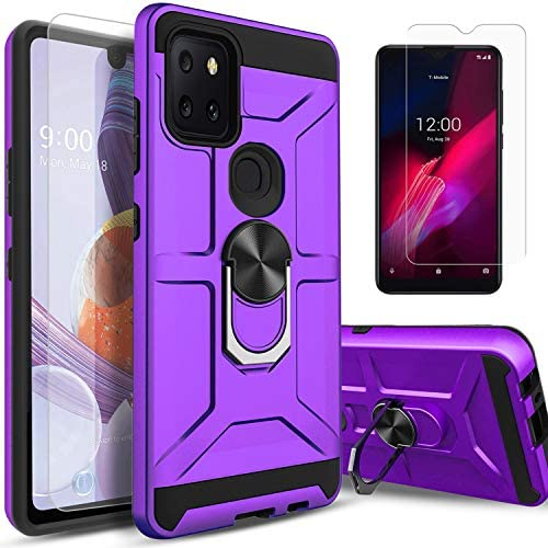 STARSHOP Compatible For -T-Mobile Revvl 5G Phone Case, [Not Fit Revvl 4 Plus/Revvl 4] with [Tempered Glass Protector Included] Dual Layers Rotatable Ring Kickstand Shockproof Cover – Purple