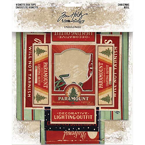 Tim Holtz Idea-Ology Christmas Vignette Box Tops - Five Piece Package -
